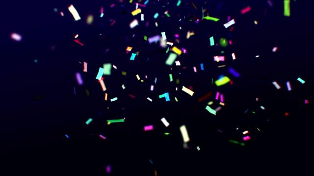 Colorful confetti falling video