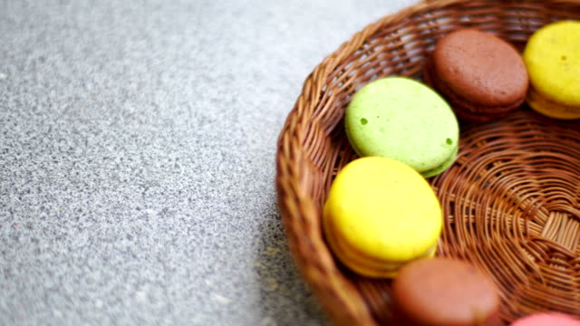 colorful cookies in the wicker plate video