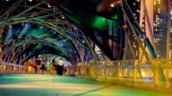 Colorful Crowd Night Bridge video