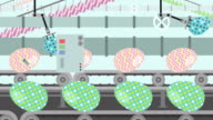 Colorful Easter Eggs on a Factory Conveyor Cartoon Style video