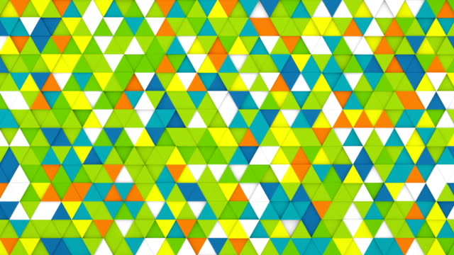Colorful extruded triangles background 3D render loopable video