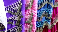 Colorful fabrics for belly dancing video
