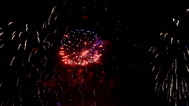 Colorful fireworks at holiday night video