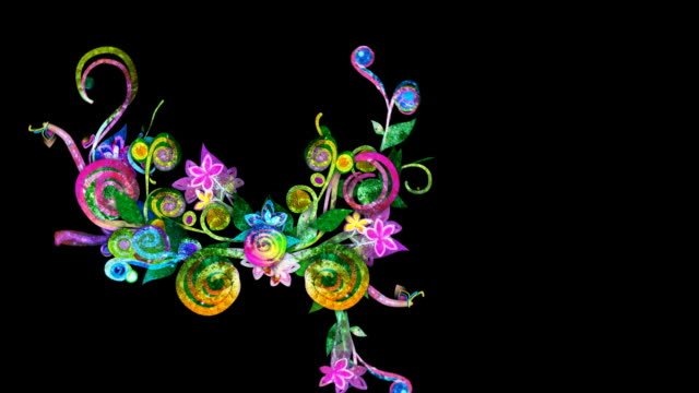 Colorful floral growth animation, loopable from 14:00 onwards video