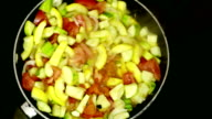 colorful food cooking in wok video