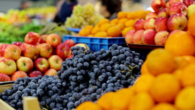Colorful fruits and vegetables market video