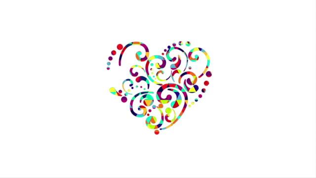 colorful heart shape animation last 5s loop video
