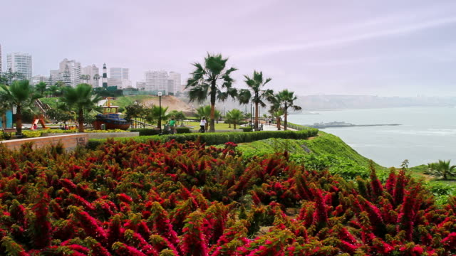 Colorful Lima Peru boardwalk video