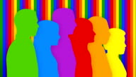 Colorful loopable silhouettes of people walking toward the same goal. video