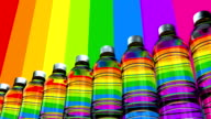 Colorful loopable, water bottles slowly moving on a production line. video