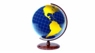 Colorful model of Earth globe rotating, loop video