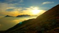 AERIAL: Colorful mountain landscape at sunset video
