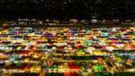 Colorful Night market time lapse video