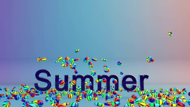 Colorful Objects Falling and Summer Time text, Alpha video