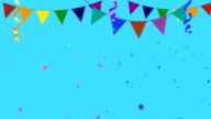 Colorful Party Elements With Confetti Going in and Out of Frame video
