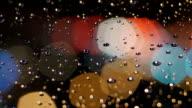 Colorful pentagon bokeh balls rotating in rain. video