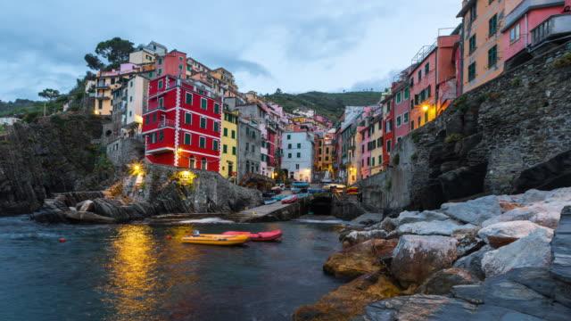 Colorful Riomaggiore fisherman village in National park Cinque Terre, Liguria, Italy video