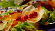 colorful salad with vegetables and pomegranate video