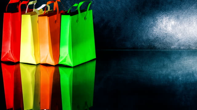 Colorful shopping bags video