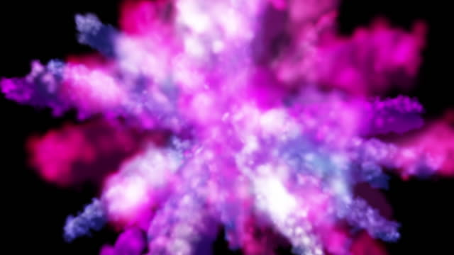 Colorful smoke particles explosion video