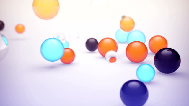 Colorful spheres bouncing against the floor video