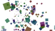 Colorful squares falling over white Background video