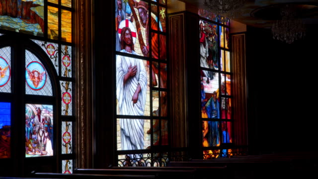 A colorful stained-glass window in the Coptic Christian church in Egypt video
