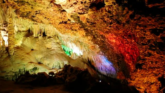Colorful stalactite cave Coves dels Hams, Porto Cristo, Manacor, Majorca, Spain video
