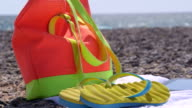 Colorful summer beach vacation getaway background video