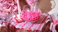 Colorful sweet tasty gummy candy at children birthday party video