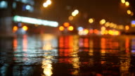 Colorful traffic lights bokeh circles reflecting in water on night city street with small raindrops. Slow motion video video