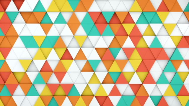 Colorful triangles extruding 3D render loopable animation video