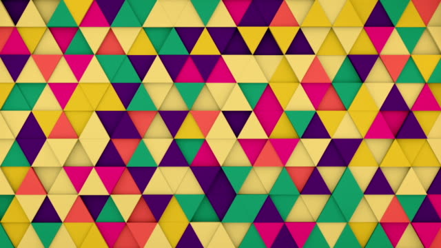 Colorful triangles hipster background 3D render loopable video
