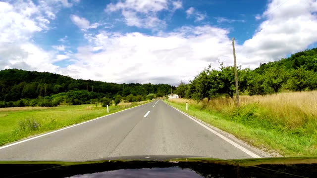 Colorful trip inside the car view somewhere in Croatia video
