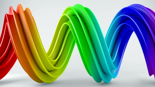 Colorful twisted 3D shape spinning seamless loop video