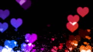 colorfull particles-hearts video