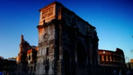 Colosseum and the Arch of Constantine,time-lapse video
