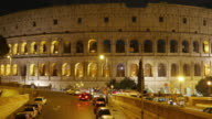 Colosseum at night in Rome Italy video