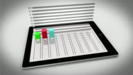 Colourful 3d bar chart on tablet pc video