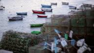 colourful cascais fish boat marina, evening, fishing nets video