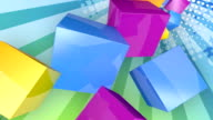 Colourful Cubes Background. Loopable video