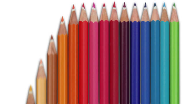 Colourful Pencils Animation - Vertical loop (with Alpha) video
