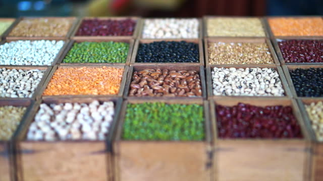colourful variety of beans. Multi grain protein food video