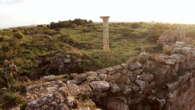 Column on place of temple of Zeus antique town Salamis east Cyprus Famagusta video
