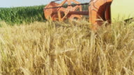 HD SLOW MOTION: Combine Harvesting Wheat video
