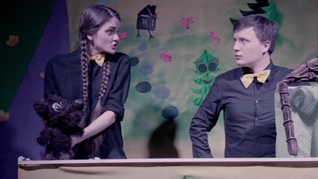 Comic performance of puppets theater. video