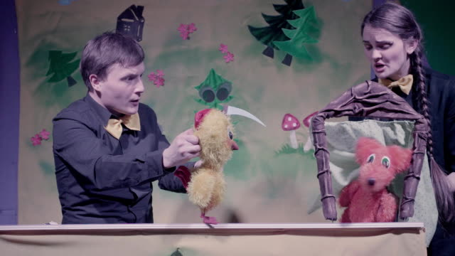 Comic show of puppets theater. Toy fox and dog. video