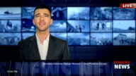 TV commentator in studio video