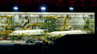 Commercial Aircraft Hangar at Night video