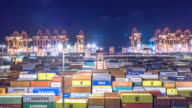 commercial dock with cargo containers . time lapse 4k video